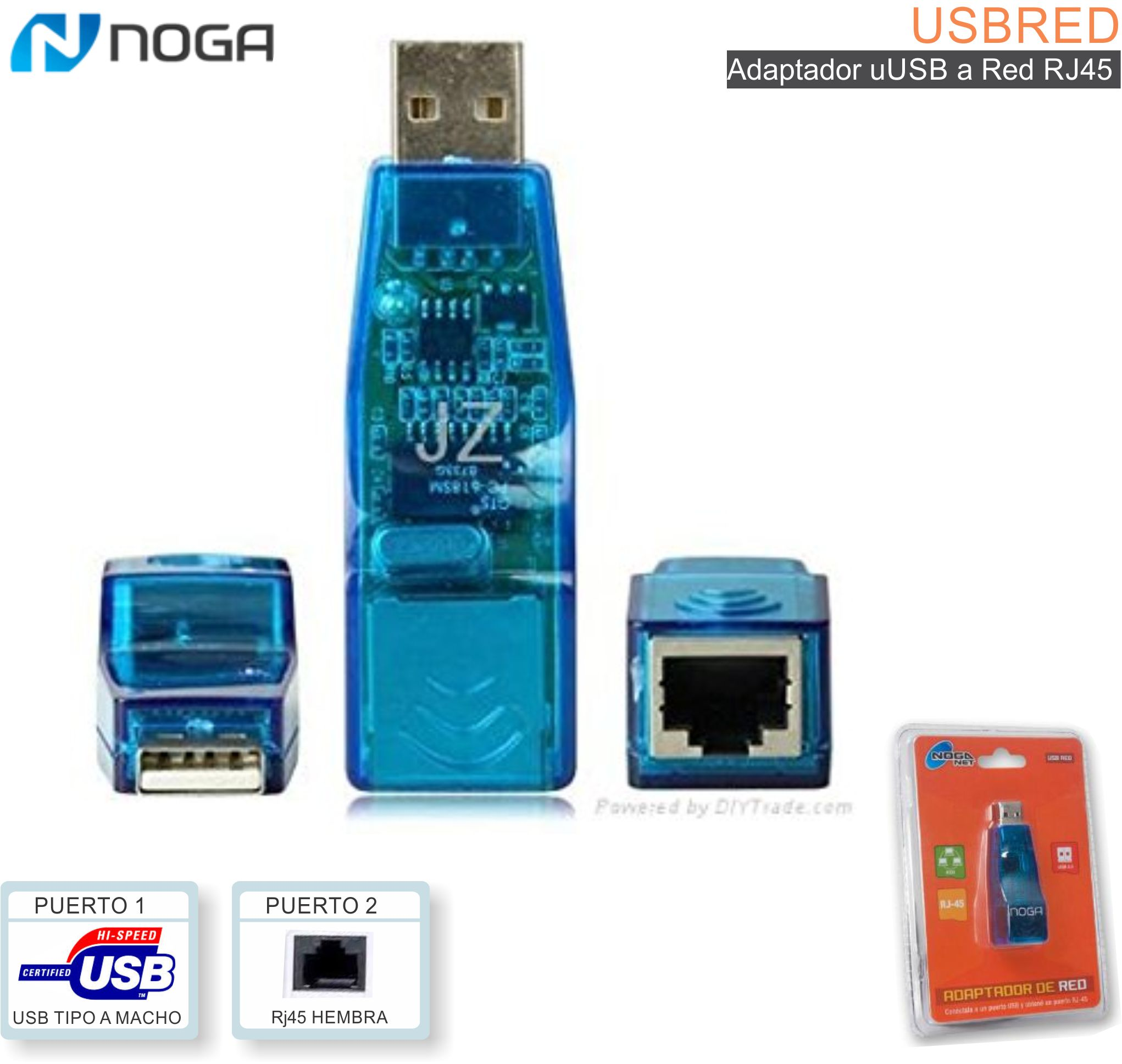 Adaptador USB a Red RJ45 NOGA USBRED