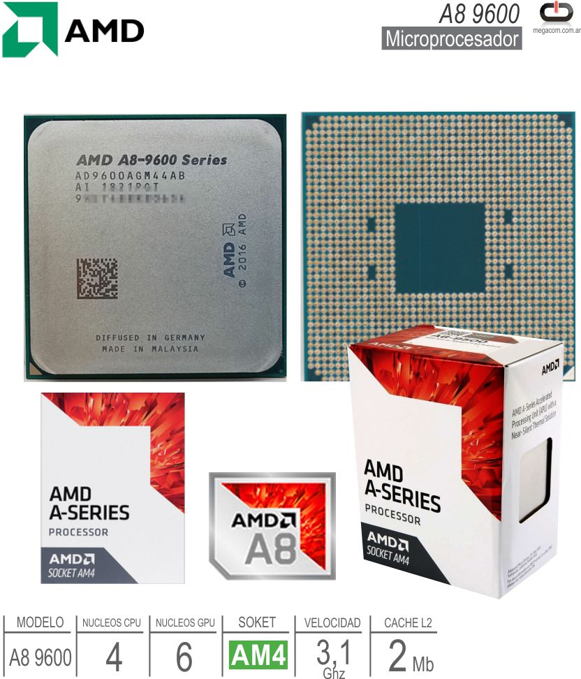 Procesador AMD AM4 A8 9600 AD9600AGM44AB
