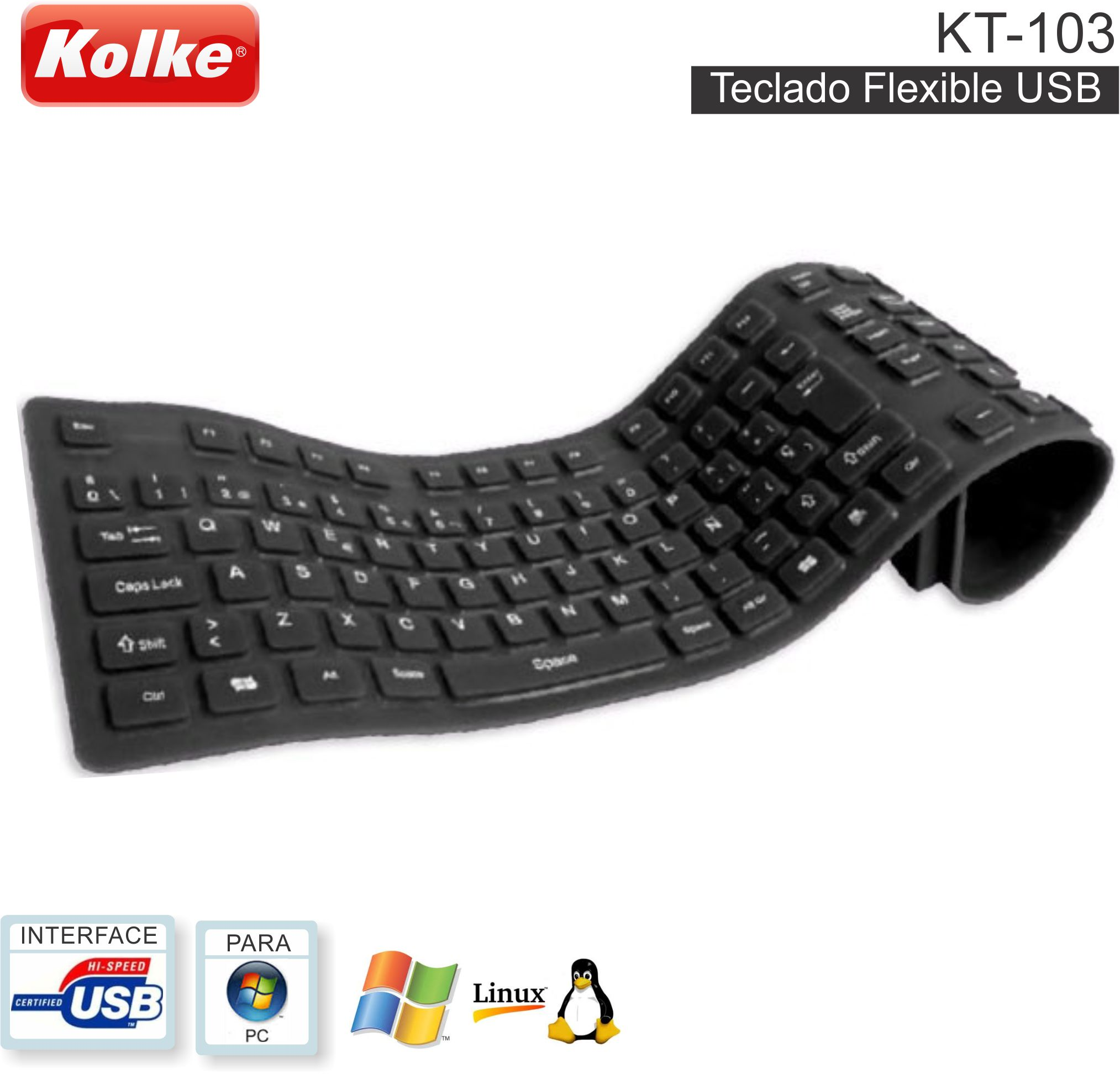 Teclado Flexible USB KOLKE KT-103