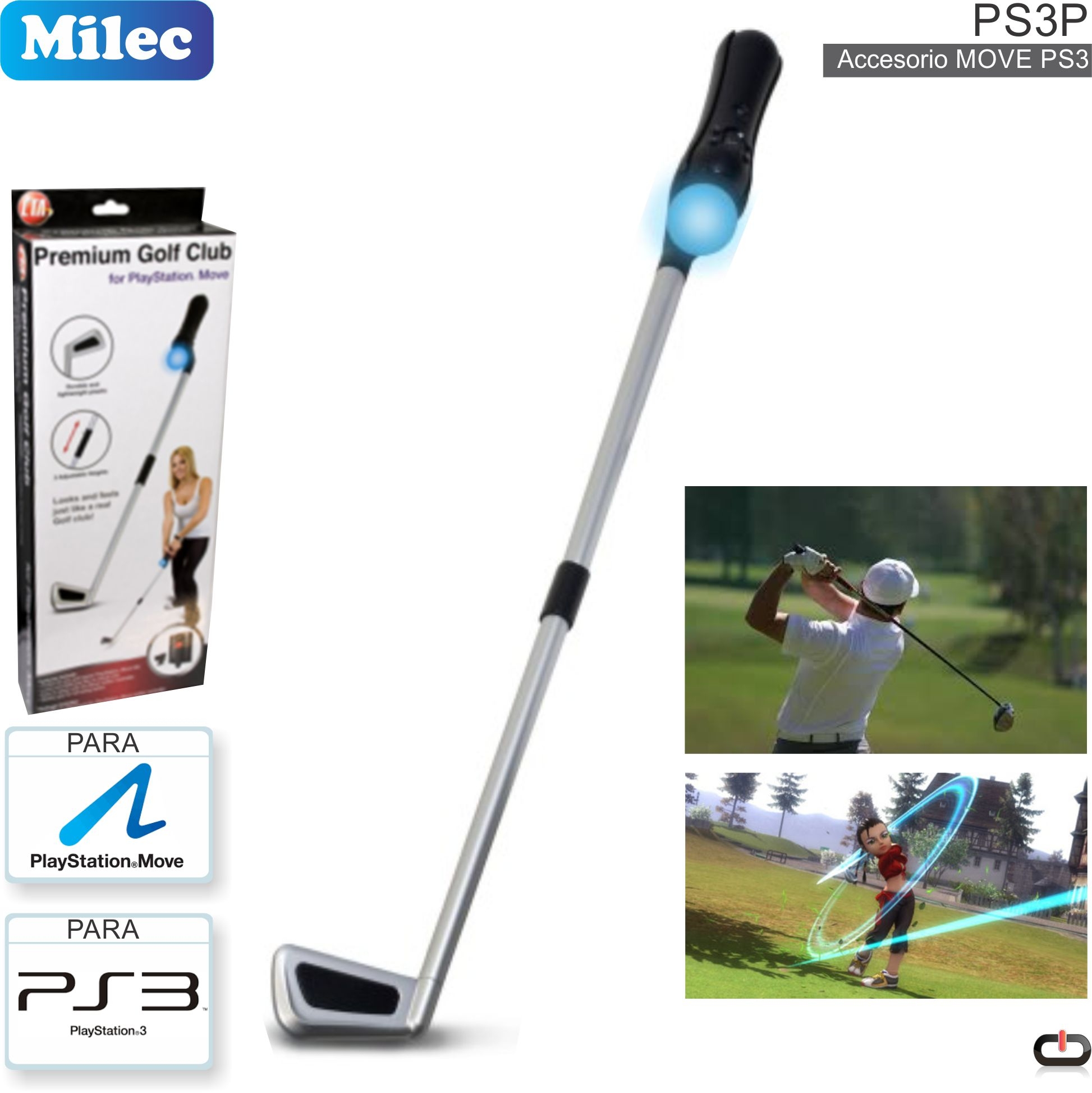 PS3 Accesorio Move Palo de Golf MILEC PS3P