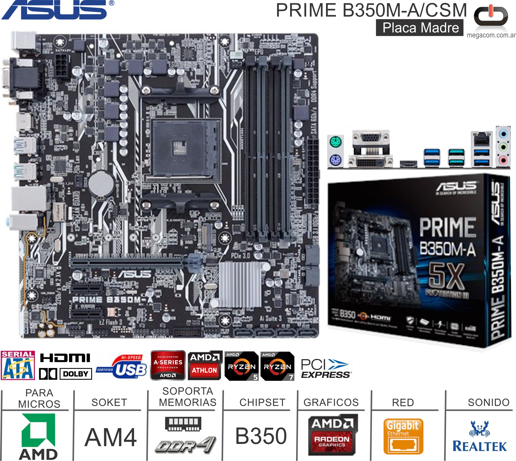 Mother AMD AM4 ASUS PRIME B350M-A/CSM
