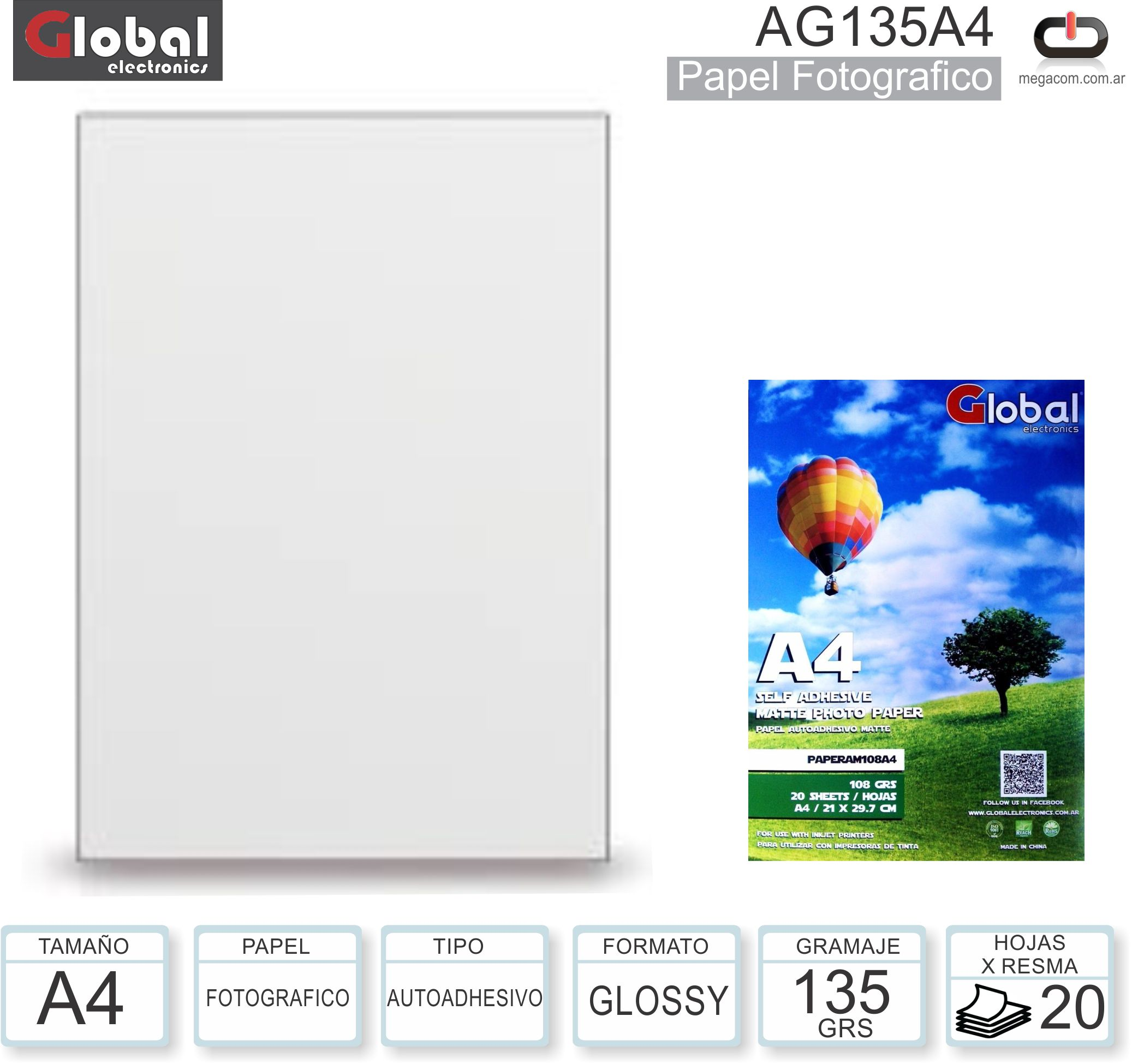 Papel A4 Adhesivo Glossy 135G/020H GLOBAL AG135A4