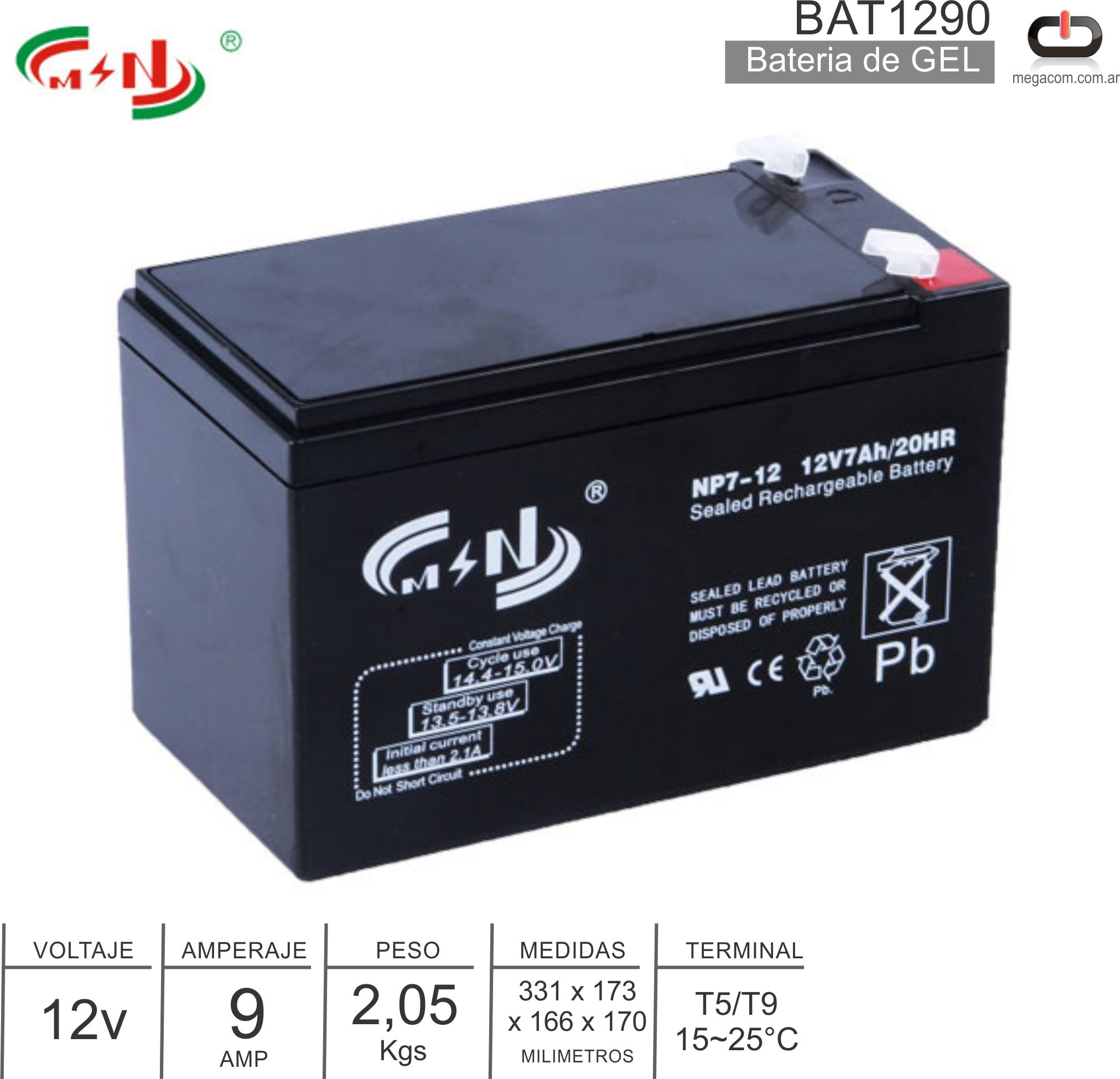 Bateria Gel MSN BAT1290 12V 9 Amp