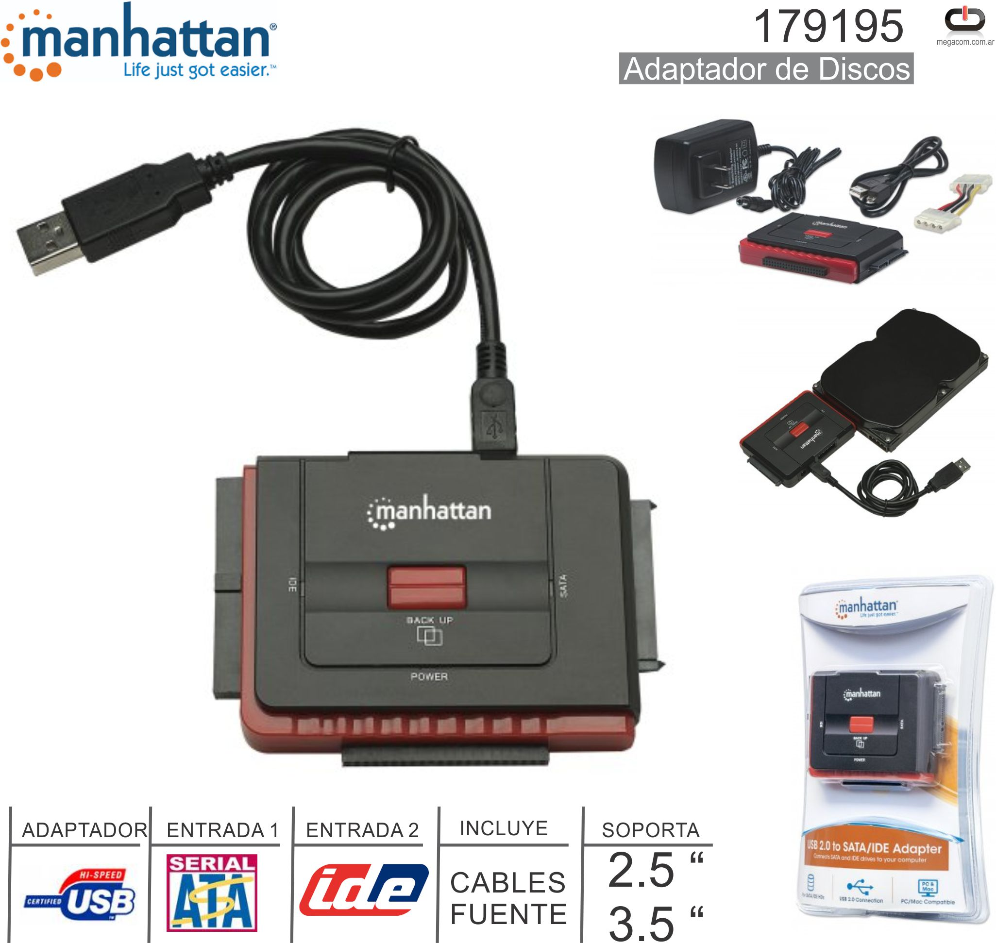 Adaptador USB M - SATA-IDE MANHATTAN 179195