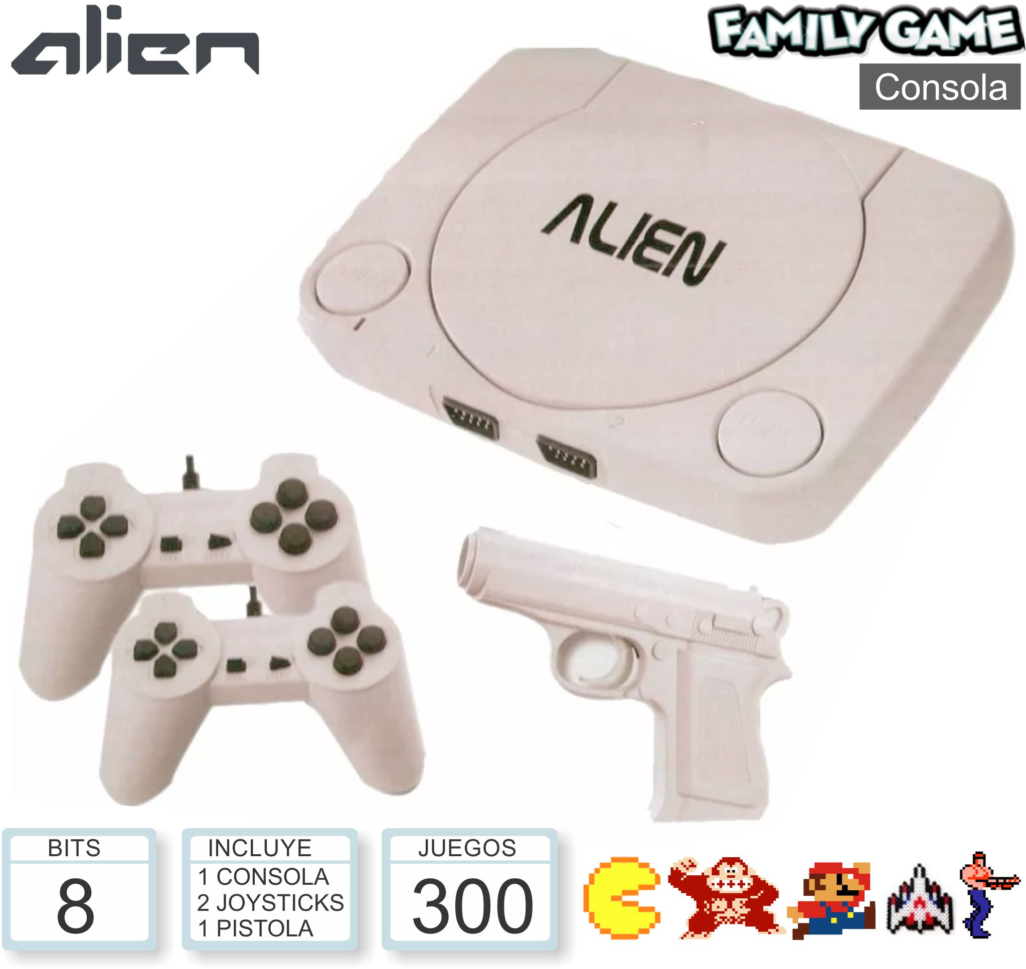 Consola ALIEN Family Game (Cons+2 Joy+ Pist)