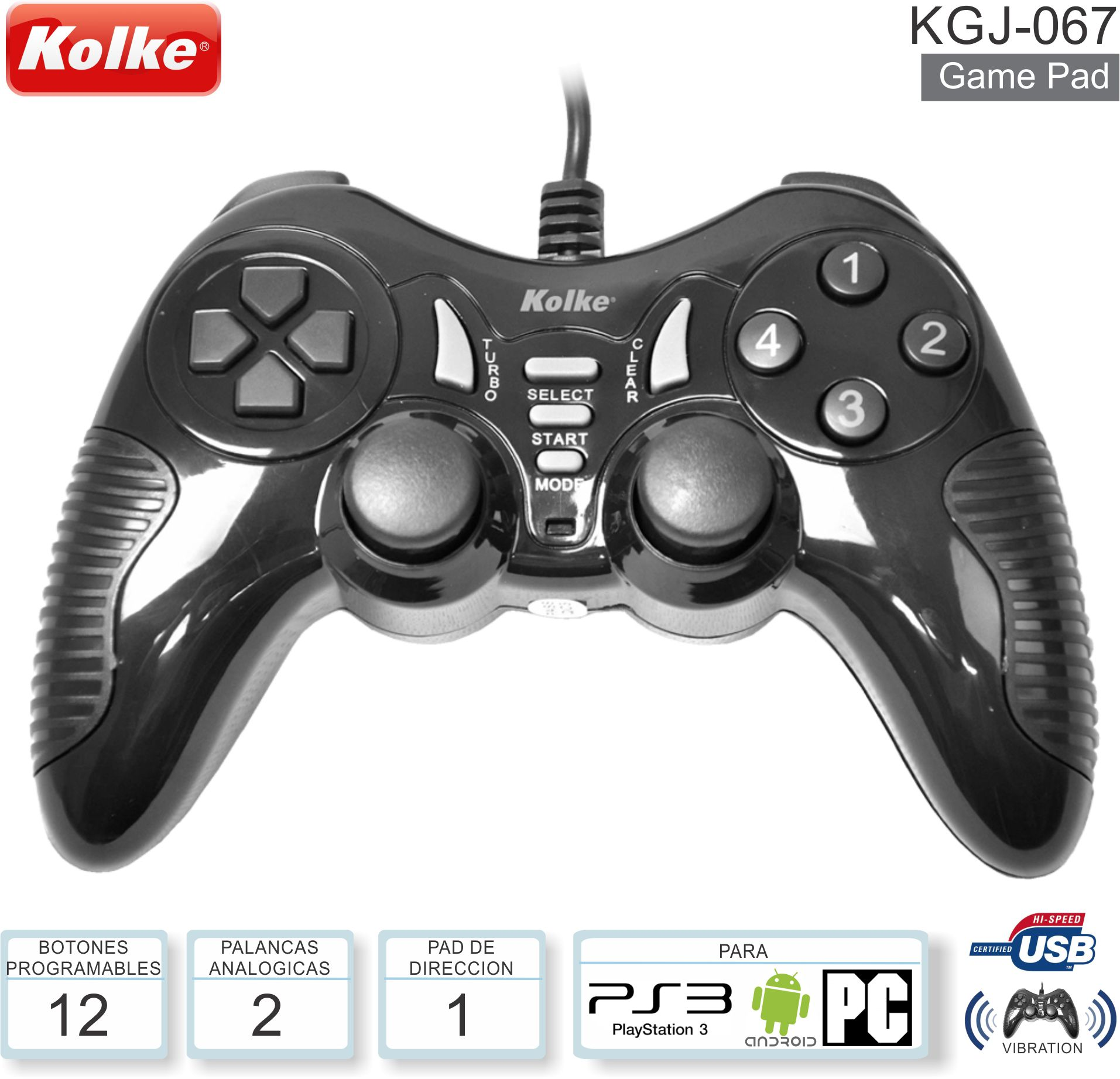 Game Pad KOLKE KGJ-067 PS3 PC USB