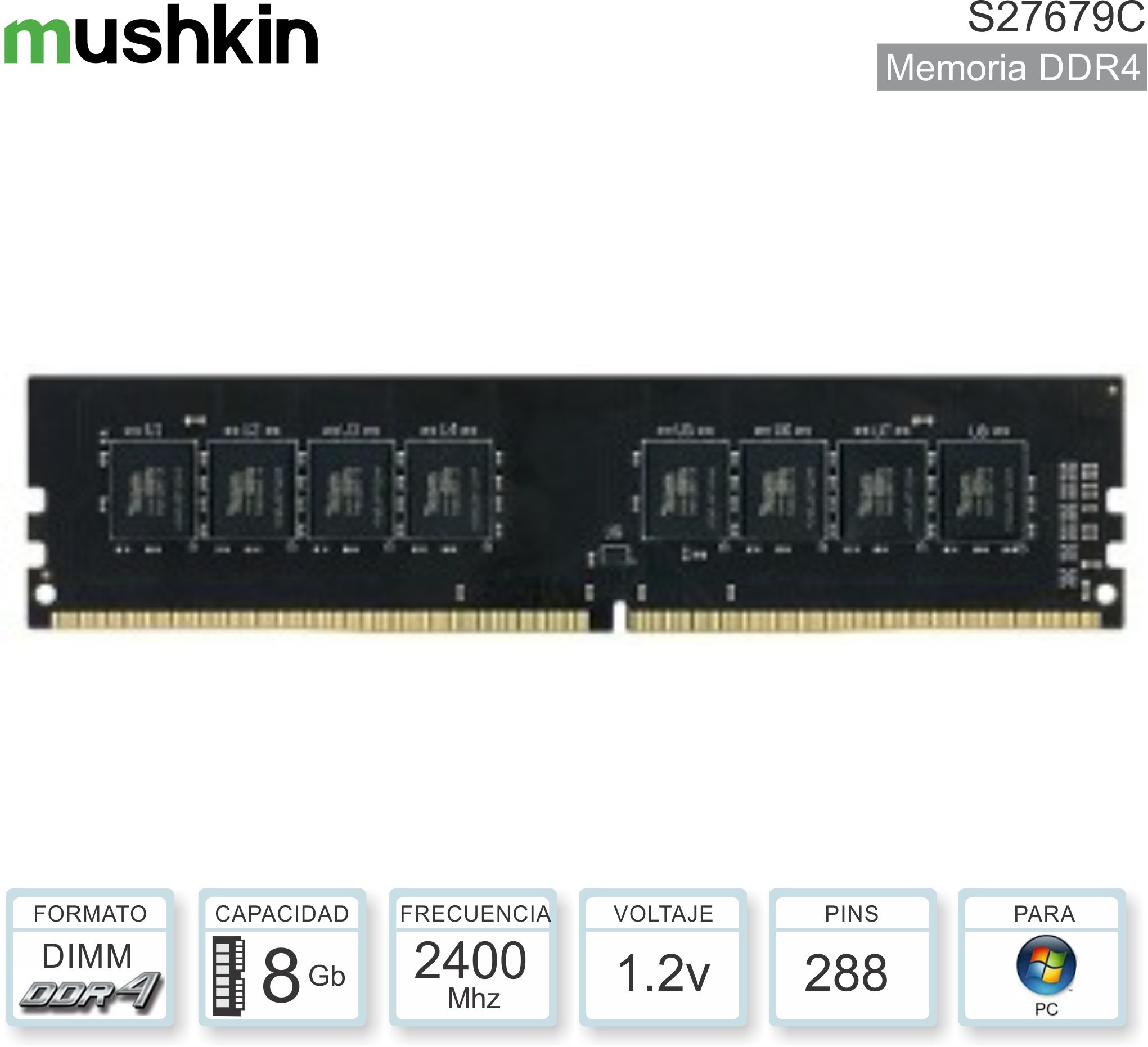 Mem DDR4 08Gb 2400 1.20V MUSHKIN C27679C