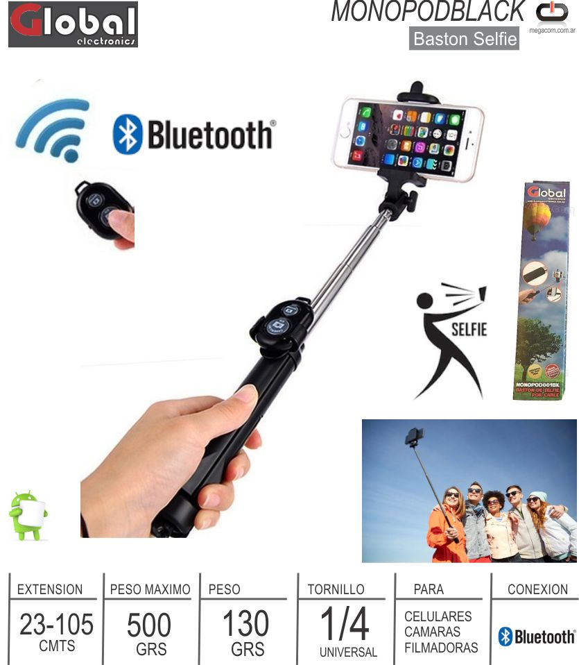 Baston Selfie Monopod KELYX Z07-5-7 Bluetooth