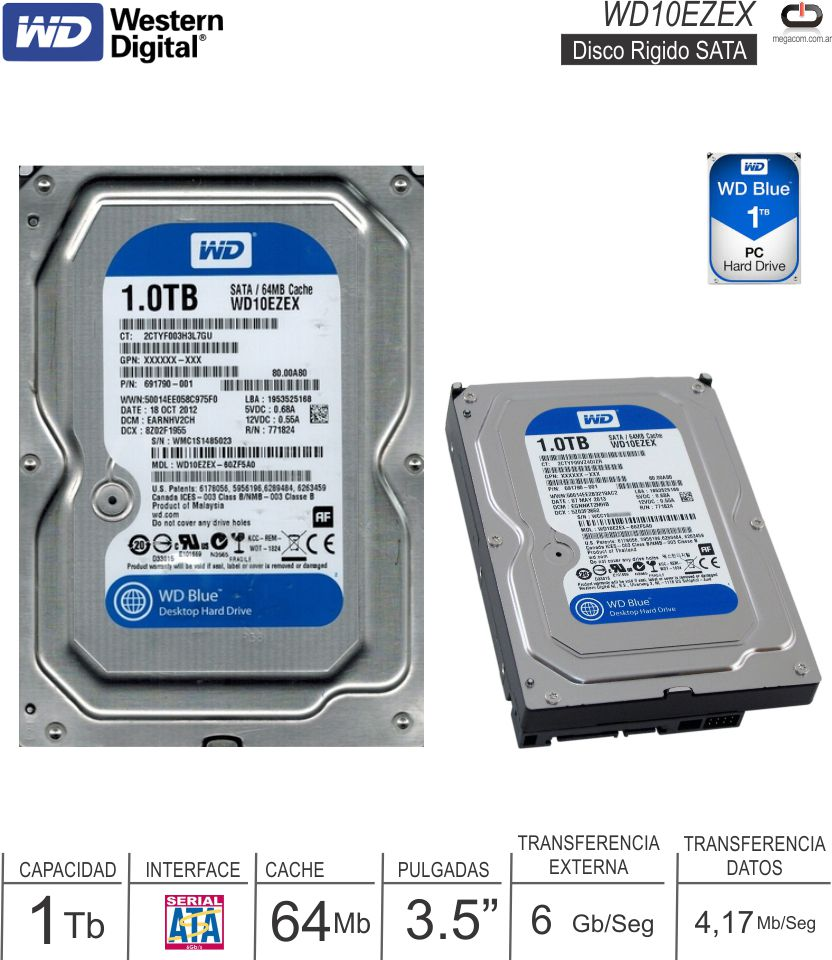 Disco Rigido 3.5 SATA 1024 Gb WD Blue WD10EZEX