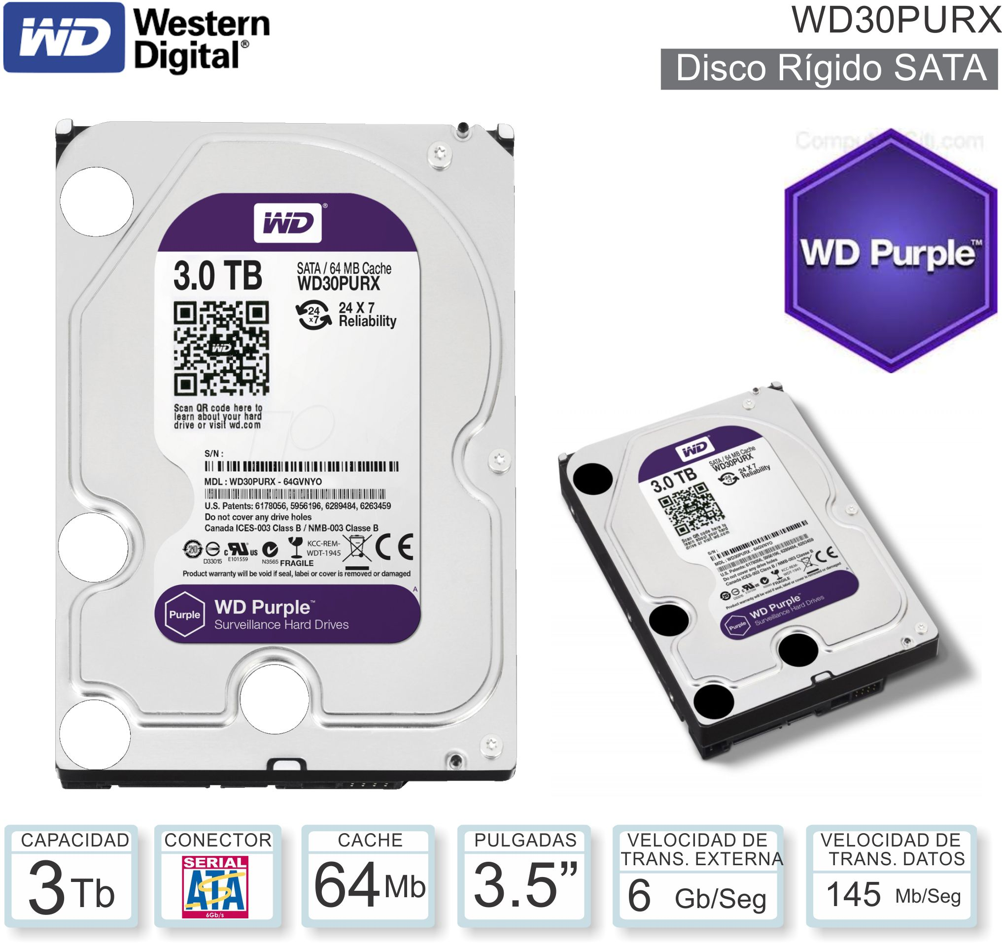 Disco Rigido 3.5 SATA 3072 Gb WD Purple WD30PURX