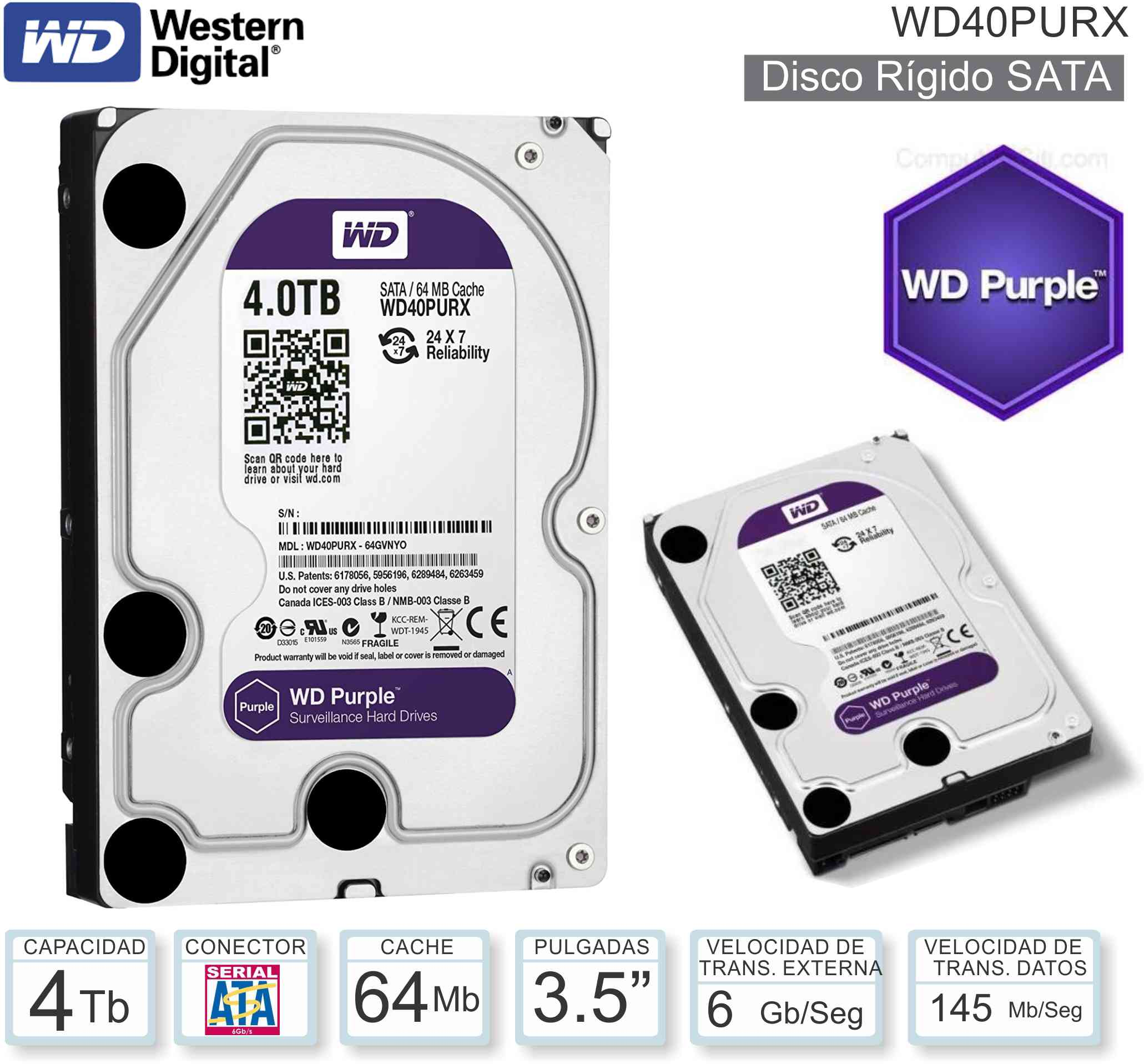 Disco Rigido 3.5 SATA 4096 Gb WD Purple WD40PURX