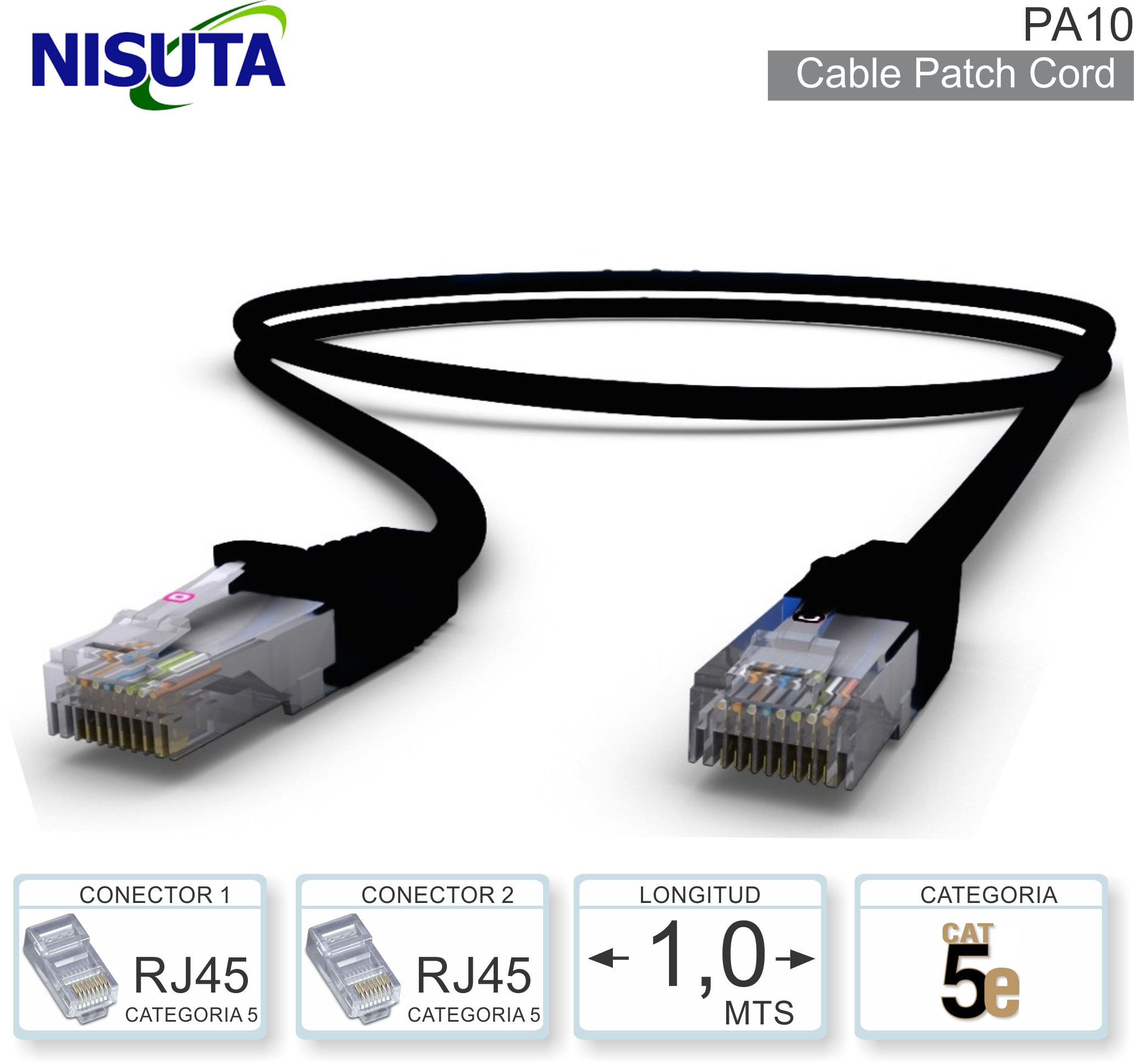 Cable Patch Cord C5 00.5M NISUTA PA05