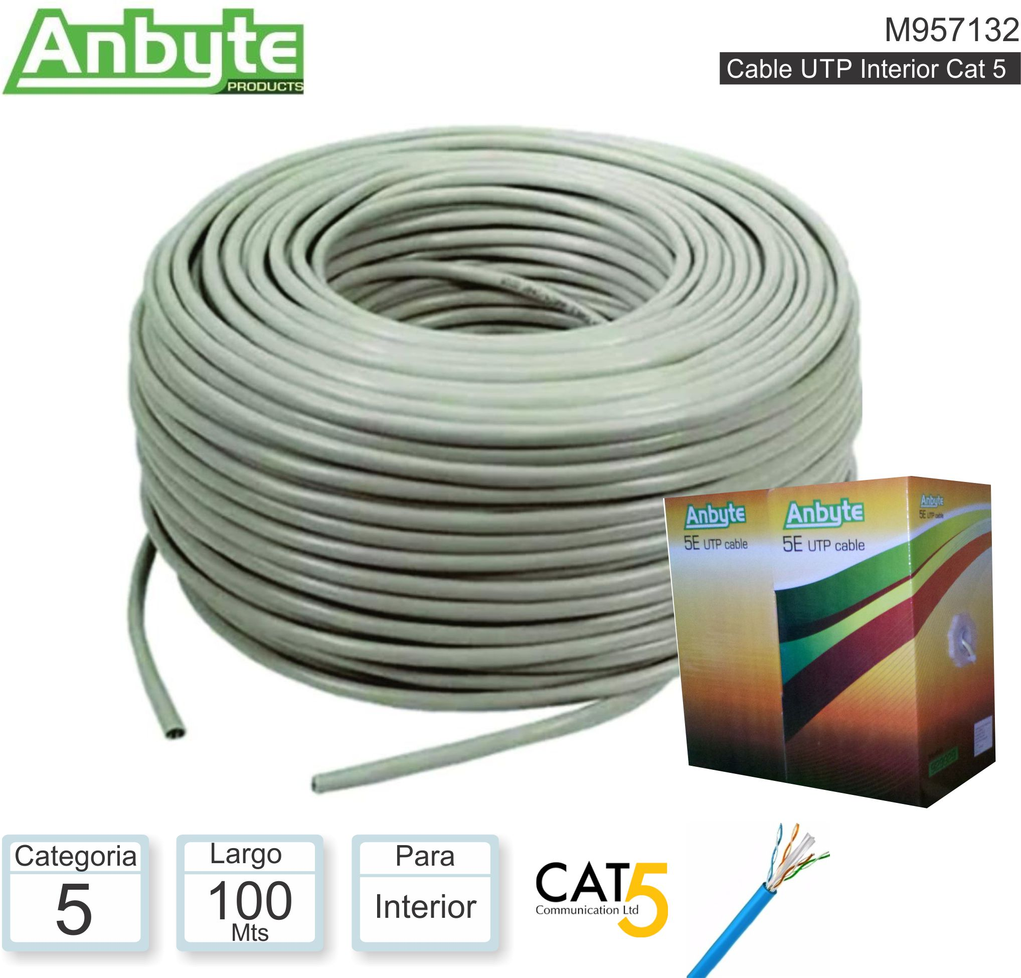 Cable UTP C5 100M INT ANYBYTE M957132