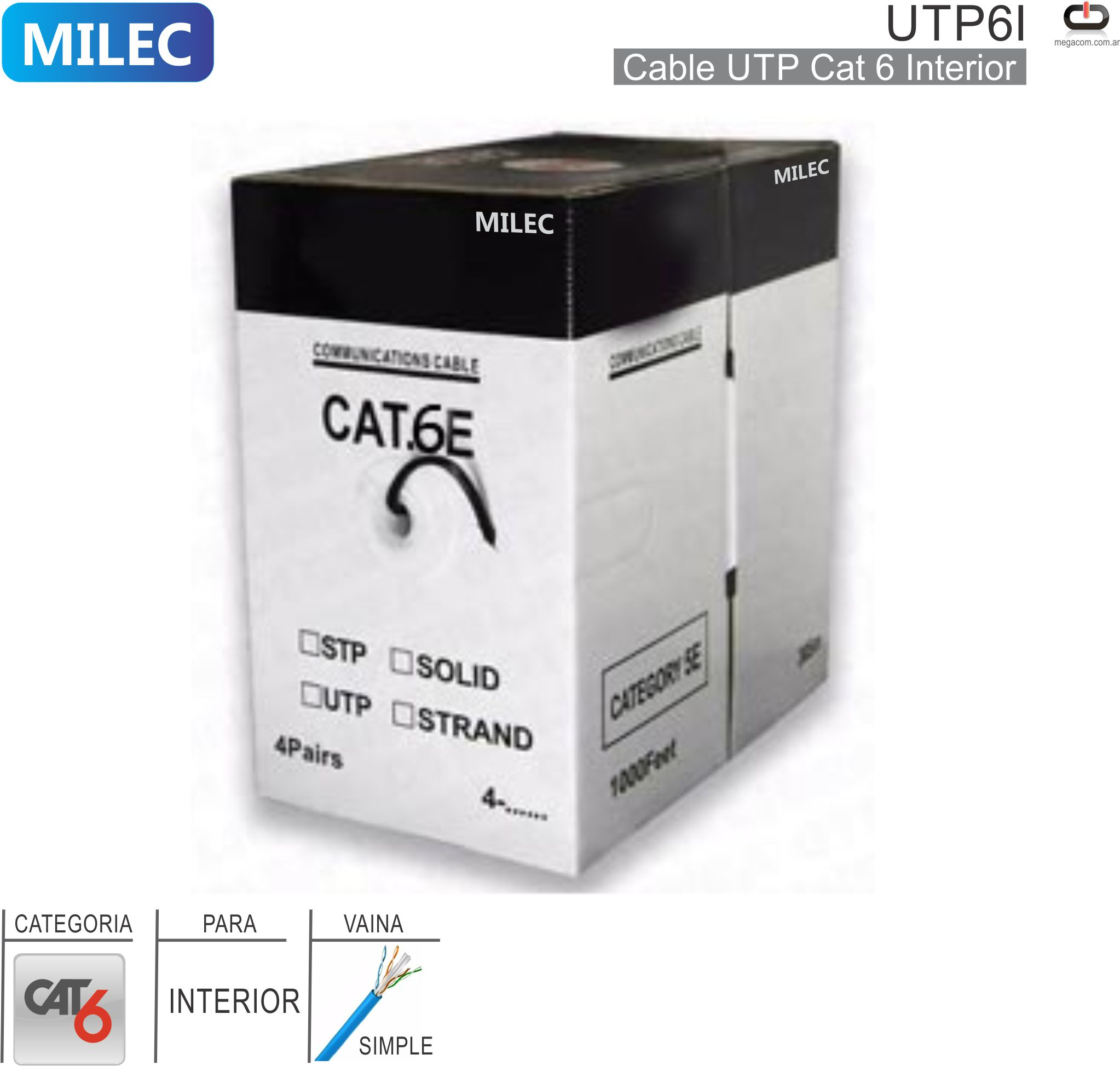 Cable UTP Cat6 Interior 001M MILEC UTP6I