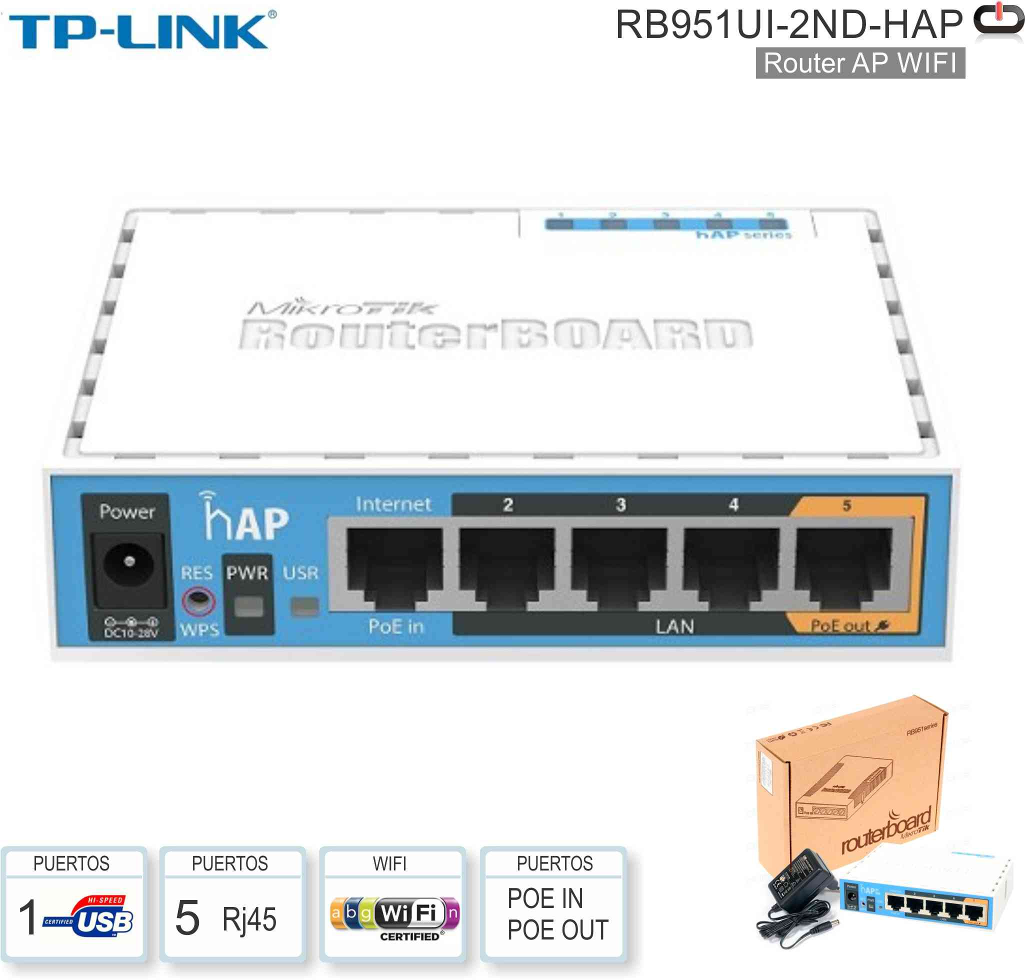 Router WIFI MICROTIK RB951UI-2ND-HAP