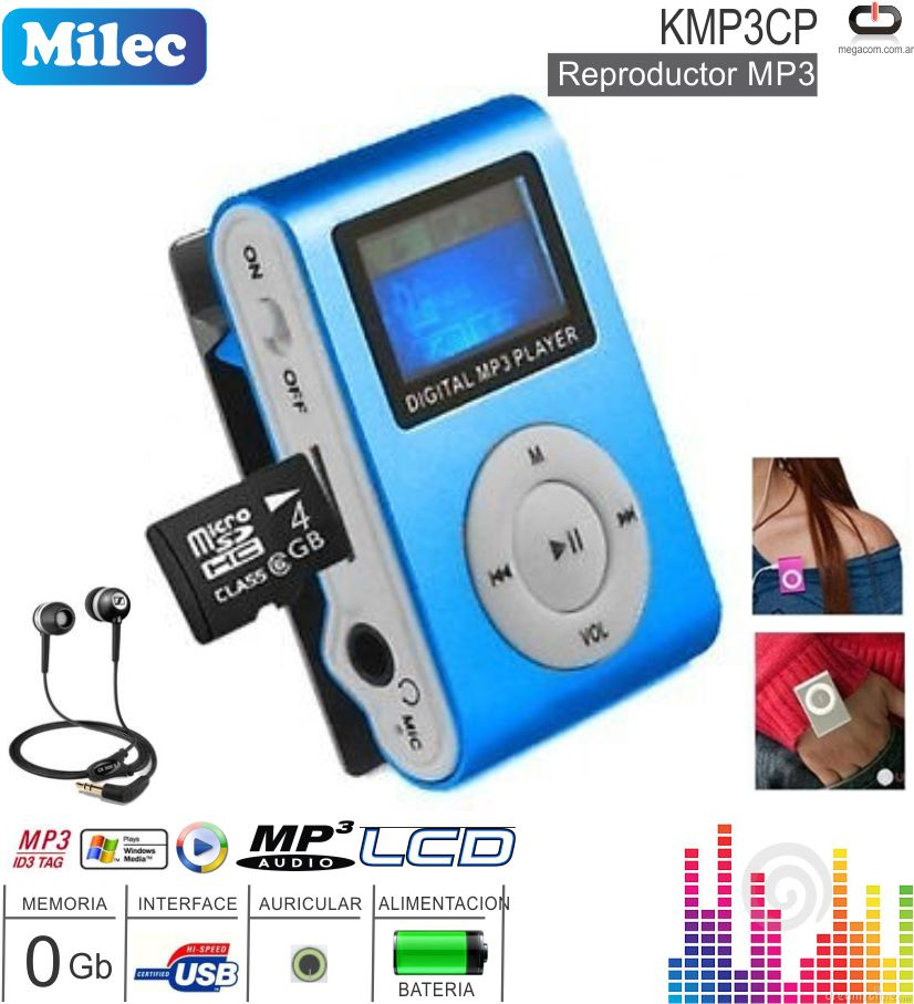 Reproductor MP3 0 Gb MILEC KMP3CP (Bat-LCD)