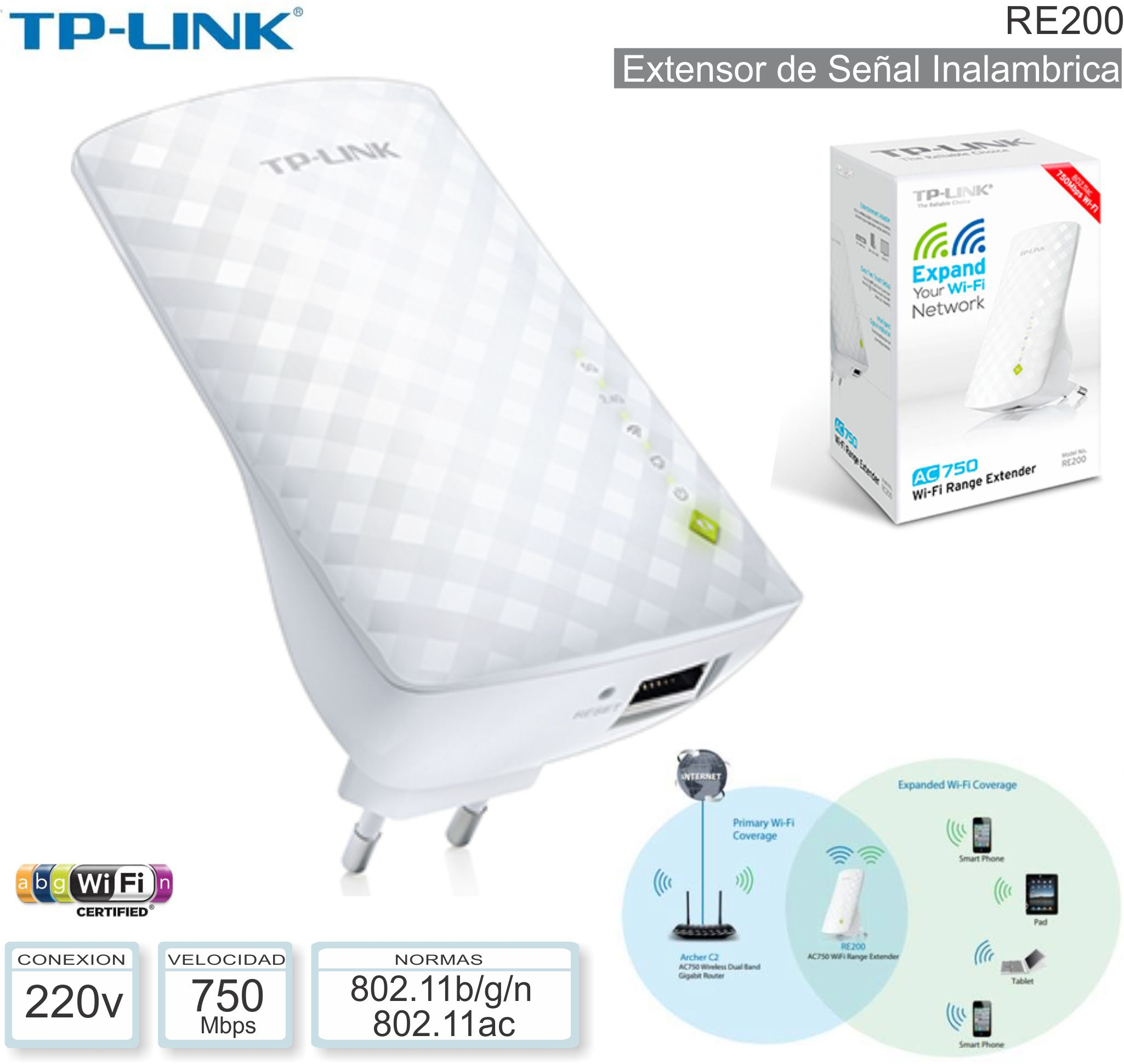 Extensor WIFI TP-LINK RE200 AC750 Universal