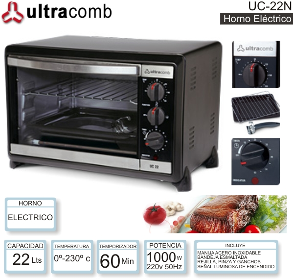 Horno Electrico 22 Lts ULTRACOMB UC-22N