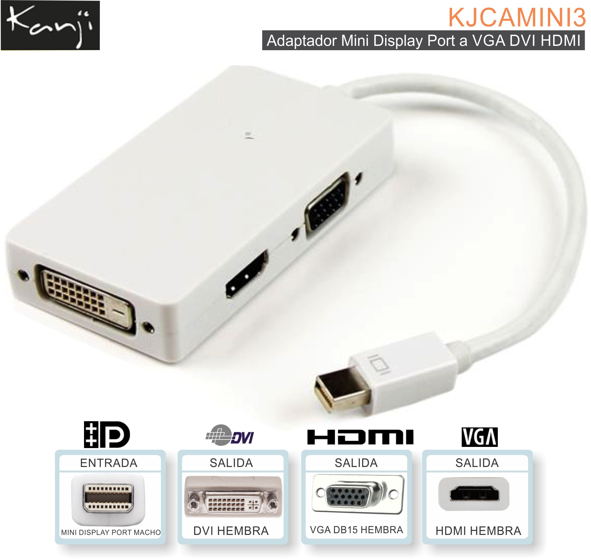 Adaptador Mini Display Port a VGA DVI HDMI KANJI
