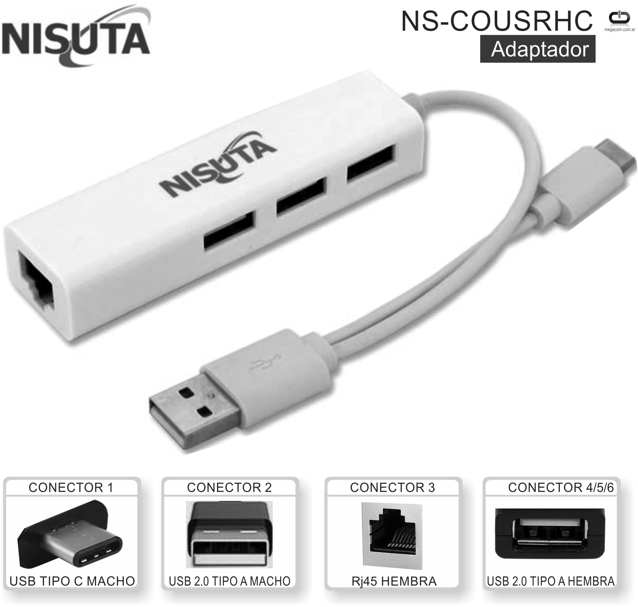 Adaptador USB C M - RED NISUTA NS-COUSRHC