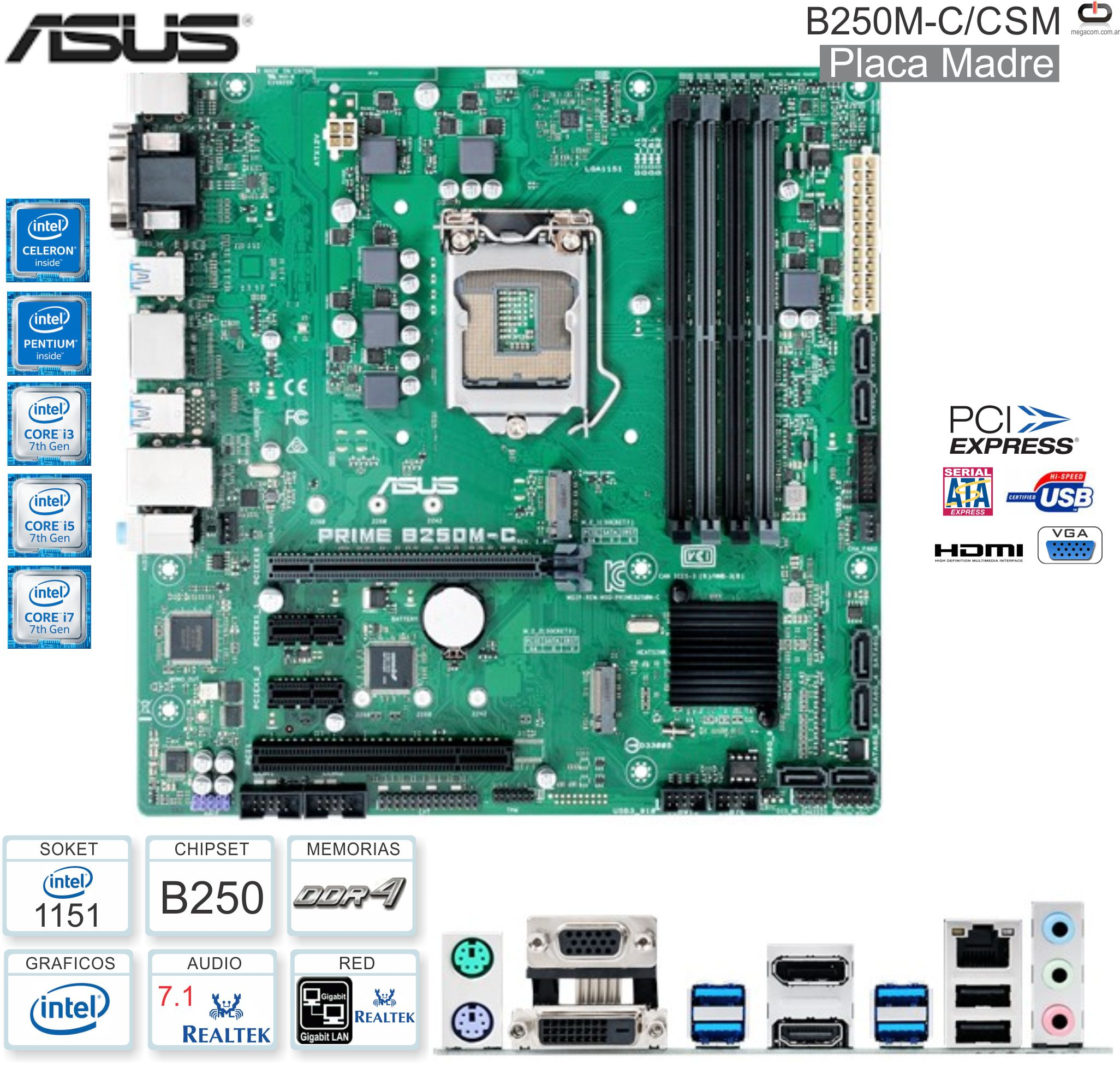 Mother INTEL 1151 8G ASUS Prime B250M-C/CSM