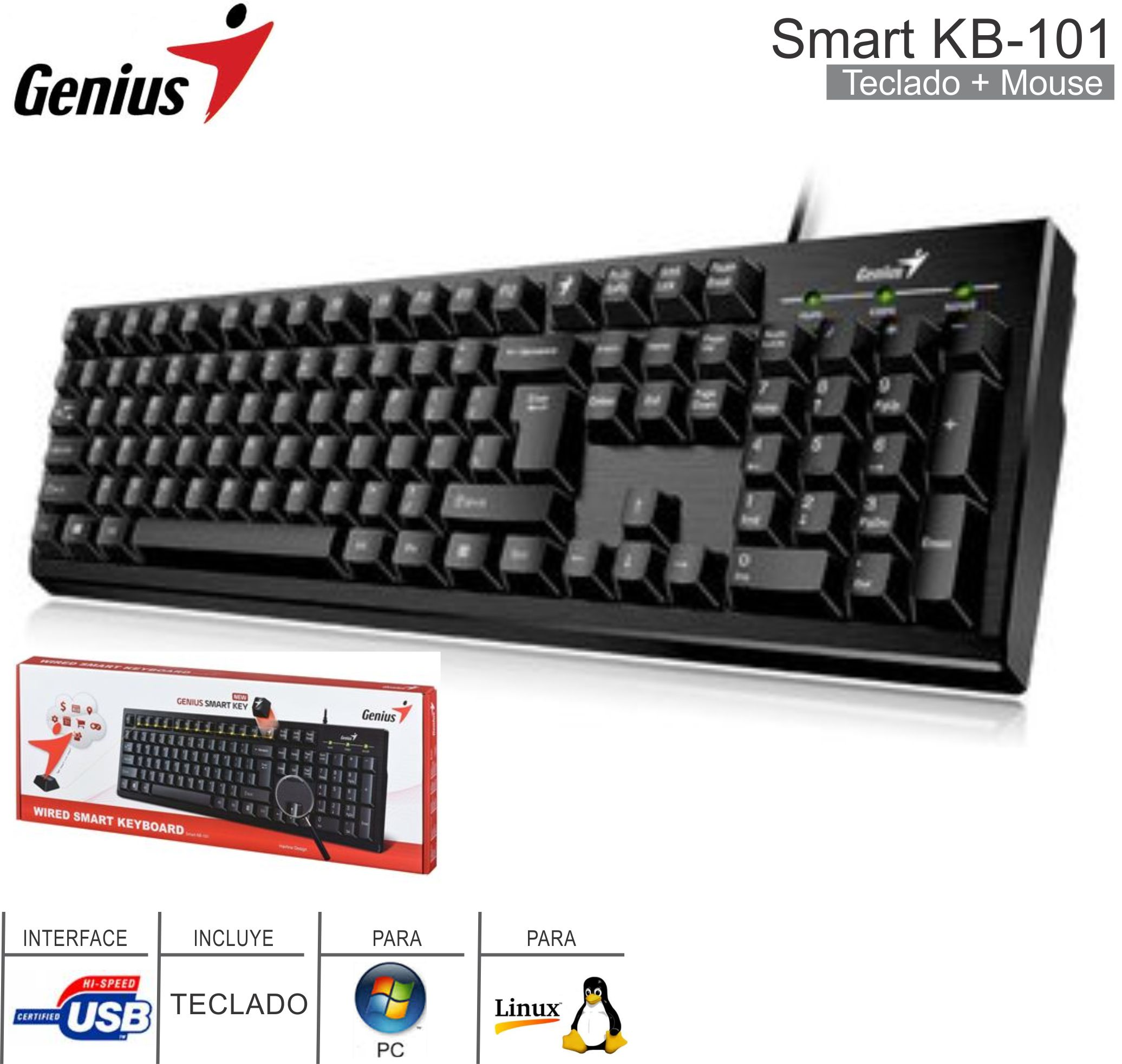 Teclado USB GENIUS Smart KB-101