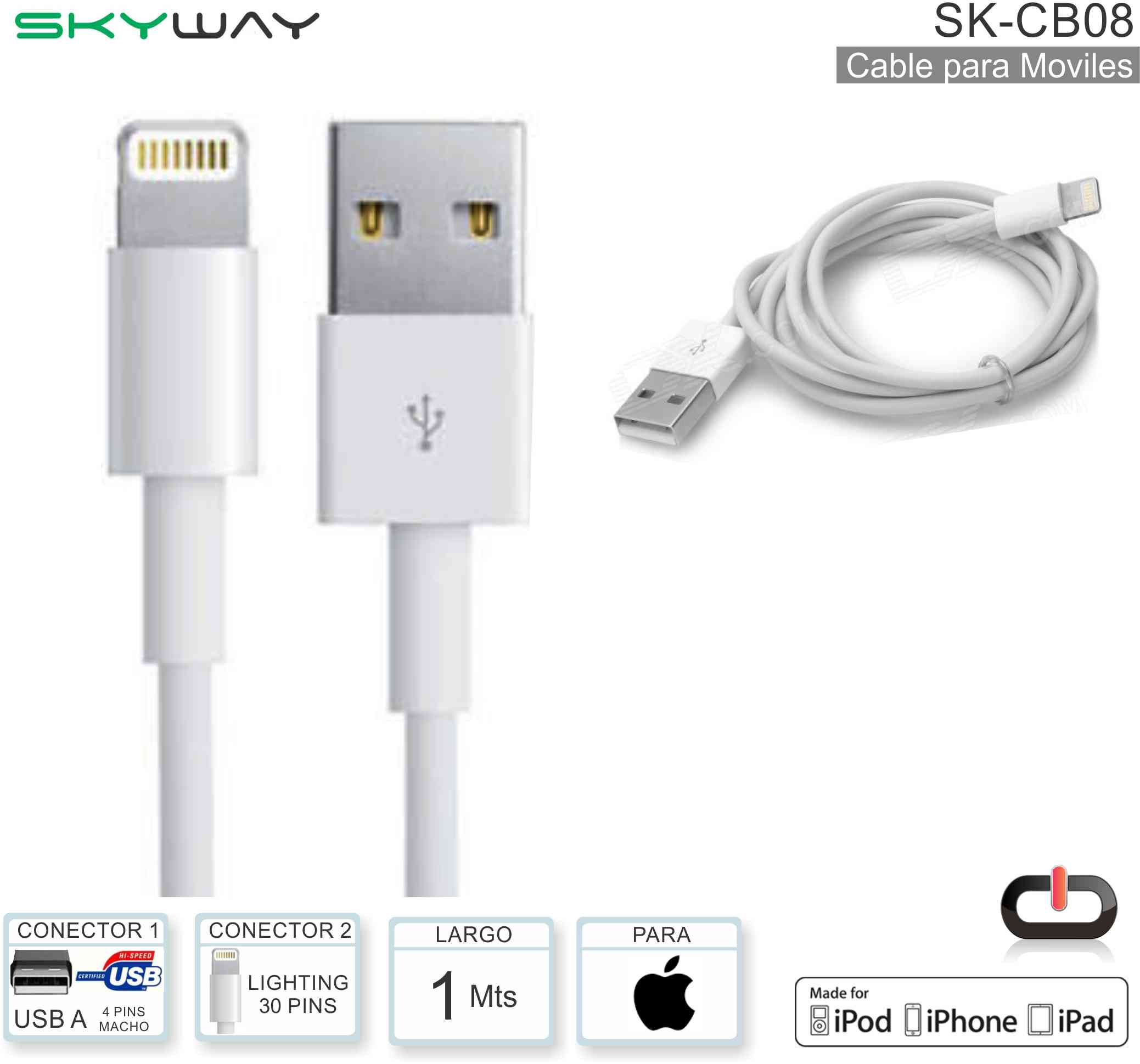 Cable USB M - Lightn 30P M 1M SKYWAY SK-CB08 Apple