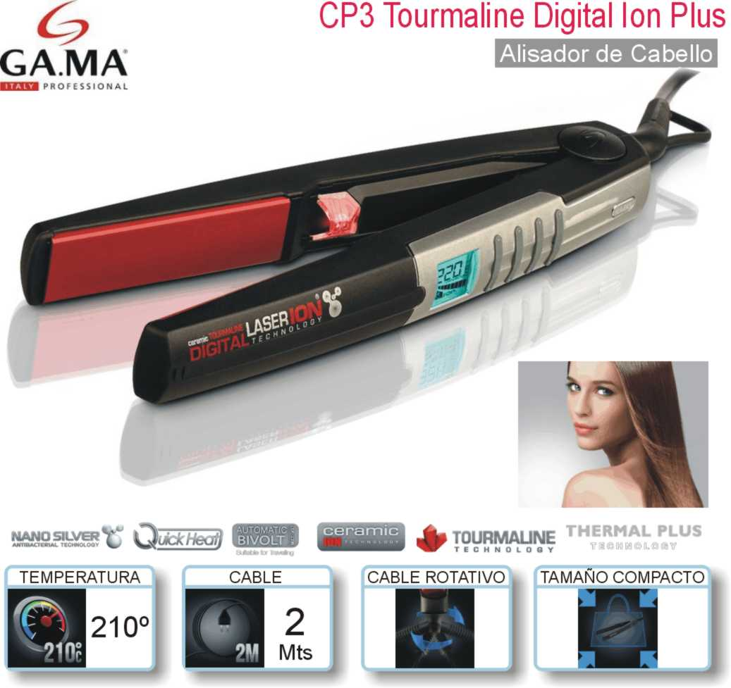 Plancha GA.MA CP3 Black Tourmaline Digital Ion Plu