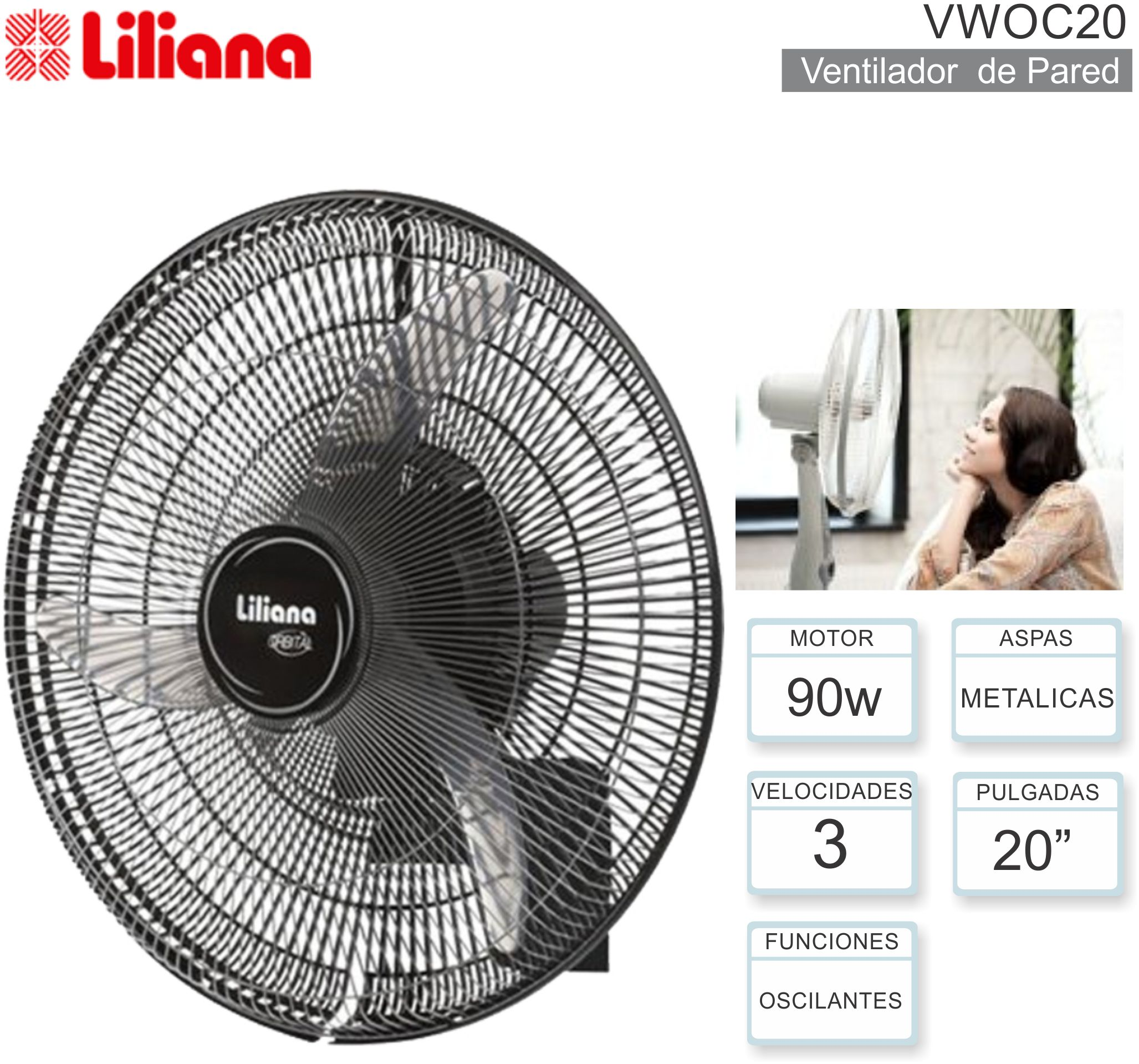 Ventilador de Pared 20p LILIANA VWOC20
