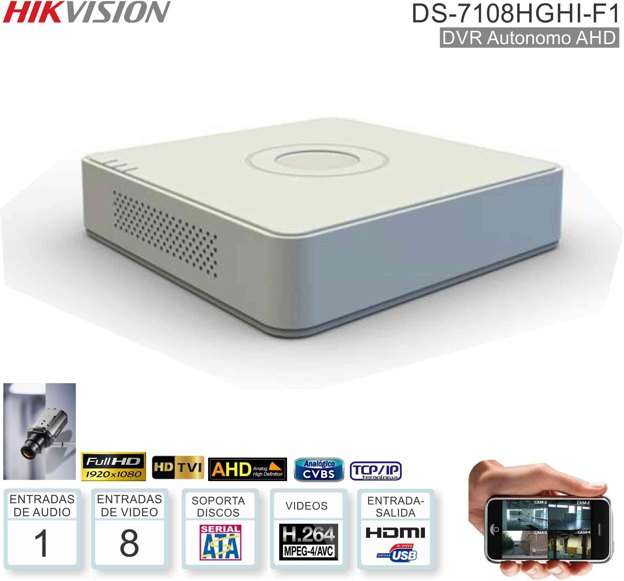 DVR AHD1080 08 Can HIKVISION 7108HGHI-F1