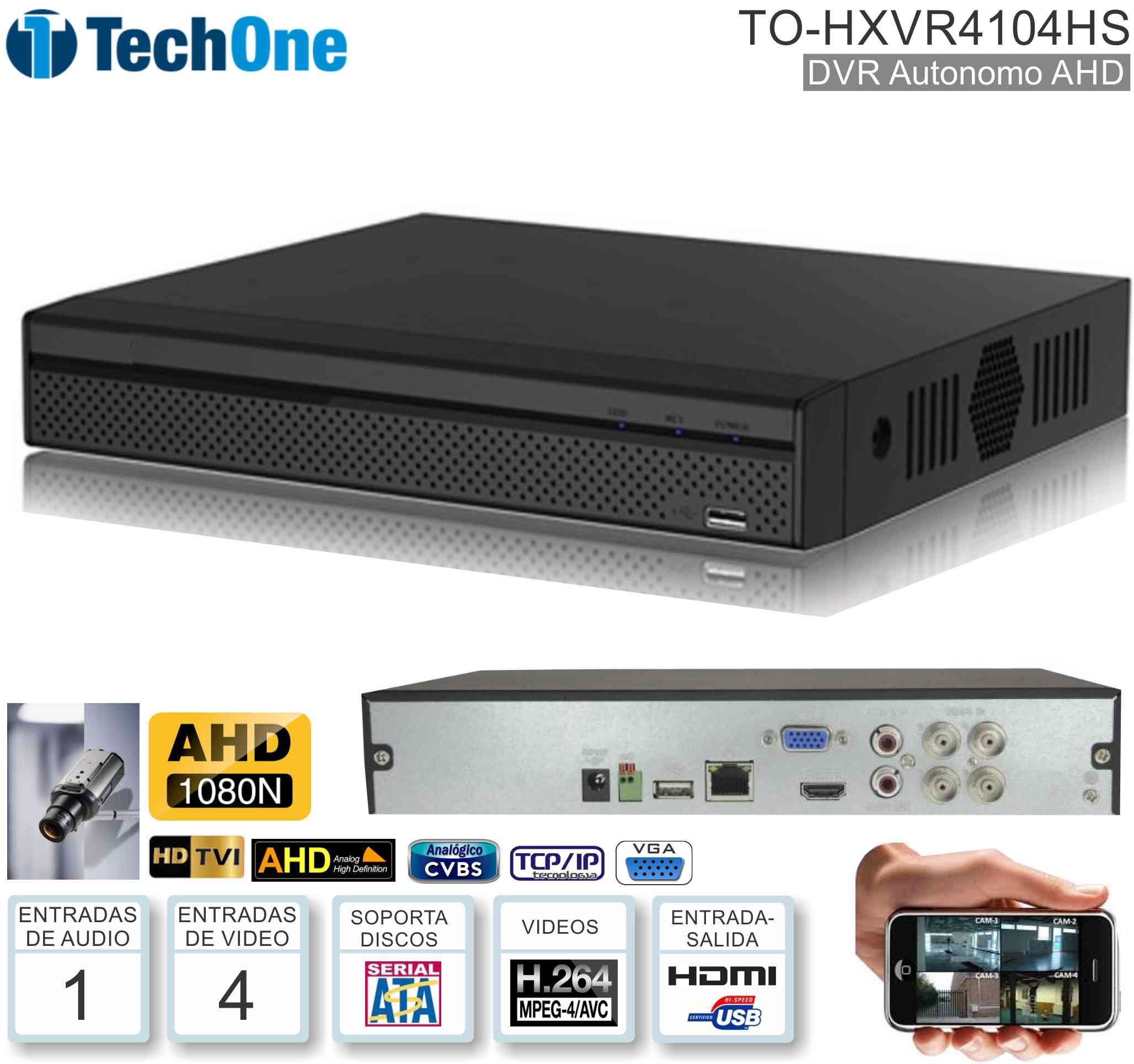 DVR AHD1080 04 Can TECHONE TO-HXVR4104HS