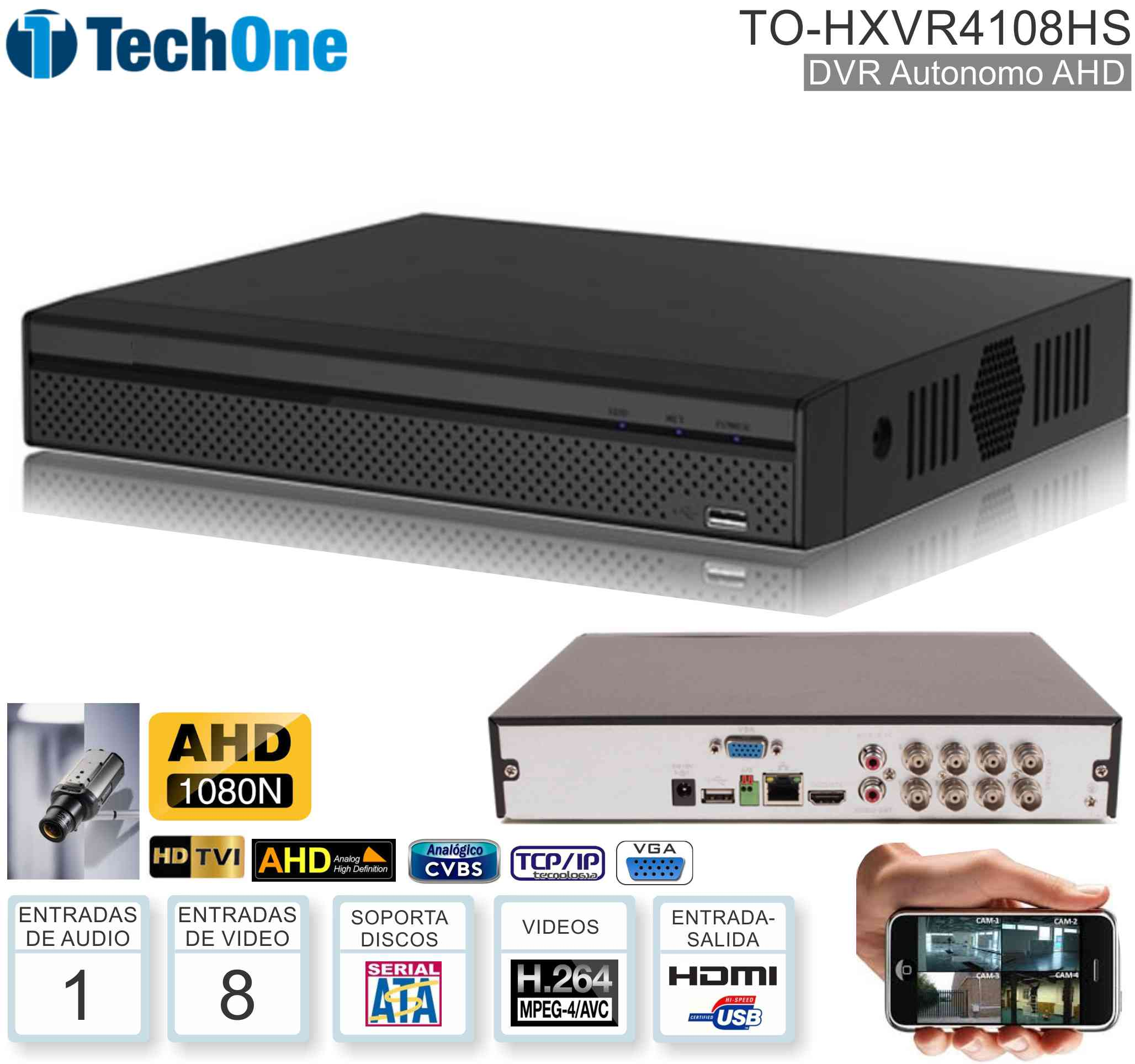 DVR AHD1080 08 Can TECHONE TO-HXVR4108HS