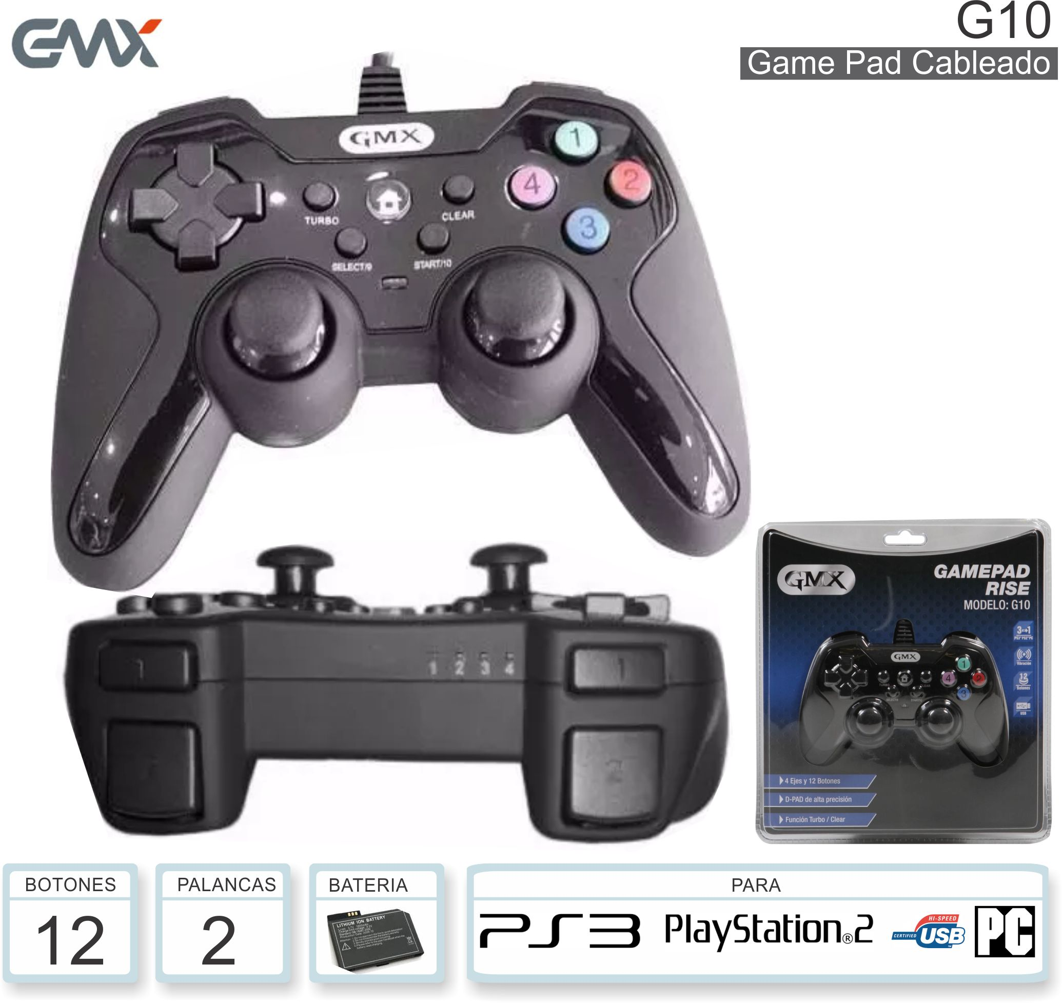 Game Pad GMX G10 PS3 PS2 PC USB