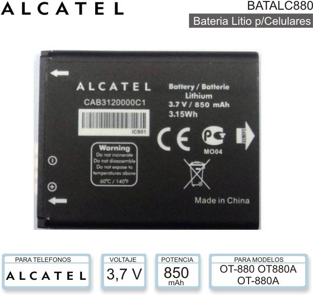 ... para celulares marca alcatel modelo batalc880 para celulares de marca