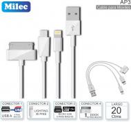 Cable USB M - 3en1 0.4M MILEC AP3 Apple-Android