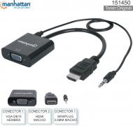 Adaptador HDMI M - VGA H + 3.5 M MANHATTAN 151450
