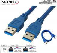 Cable USB 3.0 M - USB 3.0 M 01.5M NETMAK NM-C85